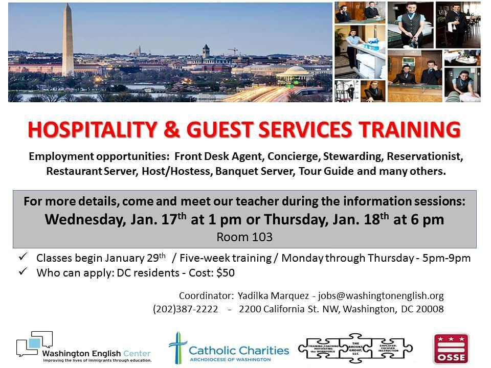 *ATTENTION ALL DC RESIDENTS*  Our WEC Employment Services would like to invite you to an INFORMATION SESSION about our upcoming Hospitality & Guest Services Training.  WHEN? Wednesday, Jan 17th at 1PM & Thursday. Jan 18th at 6PM  WHERE? Room 103  If you are interested in working as a Front Desk Agent, Concierge, Steward, Reservationist, Restaurant Server, Host/Hostess, Banquet Server, or Tour Guide, then this training is for YOU!  For more information, please contact Yadilka Marquez atjobs@washingtonenglish.org.  #infosession #WEC #WashingtonEnglishCenter #ESL #2018 #NewYear #WinterTerm #DC #WashingtonDC #Hospitality #guestservices #training #
